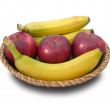 Stock Photo: Bananas and apples.