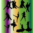 Vector set of dancing silhouettes — Stock Vector