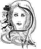 Vector beautiful woman — Stock Vector