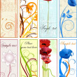 Stock Vector: Vertical floral bookmarks or banners