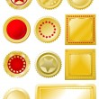 Golden red seals and labels - Stock Vector