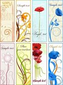 Vertical floral bookmarks or banners — Stock Vector