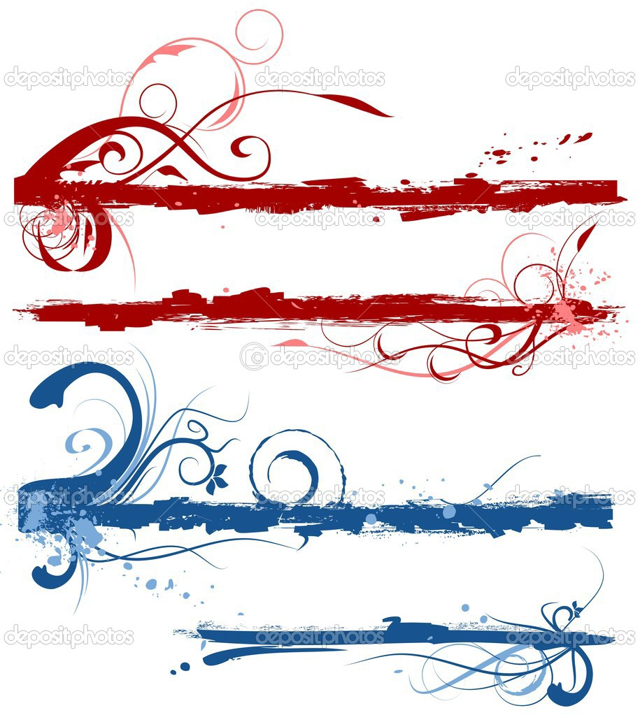 Vector set of grunge style floral borders  Stock Vector #2849895