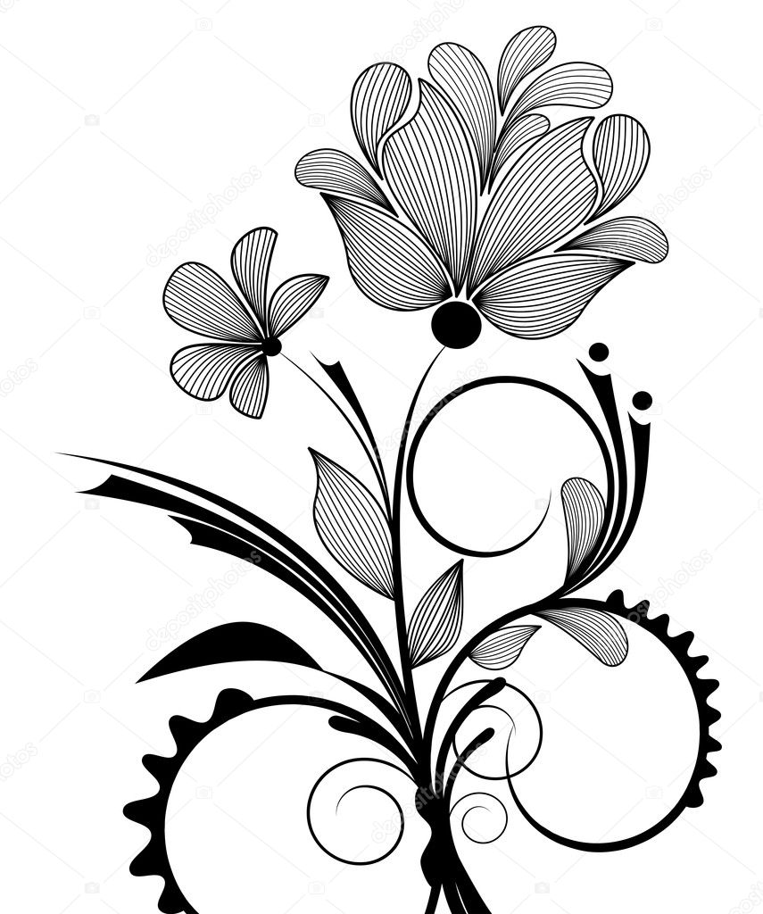 Hand drawn floral design element — Stock Vector #2891897