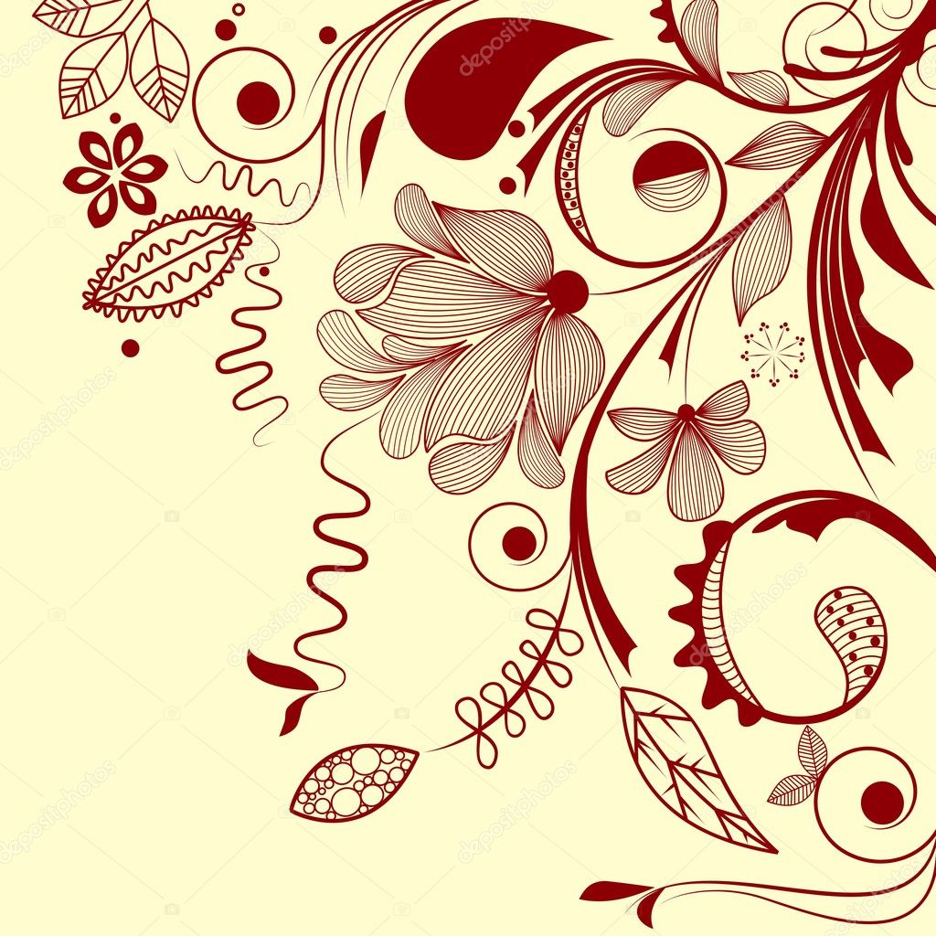 Fully editable hand drawn vector floral design — Stock Vector #2900477