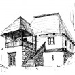 Old rural house sketch — Stockvectorbeeld