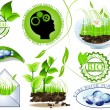 Nature icons set, eco and bio message - Stock Vector