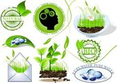 Nature icons set, eco and bio message — Stock Vector