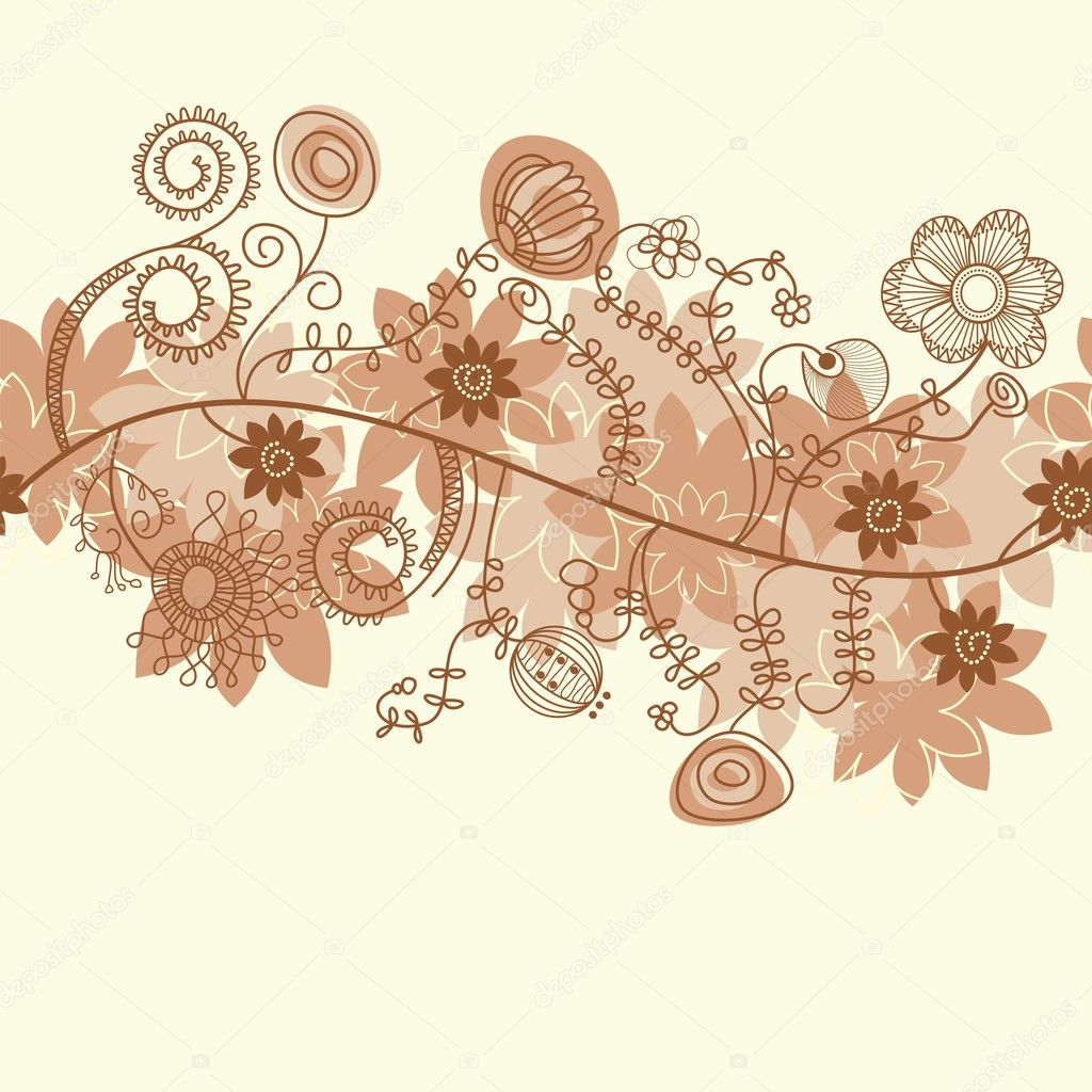 Seamless floral background in autumn colors — Stock Vector #3471949