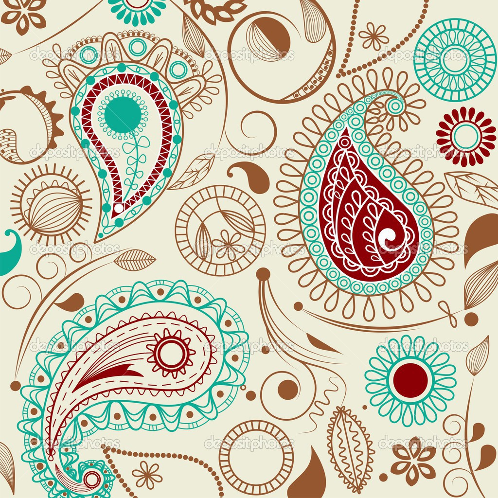 Colorful paisley background with flowers  Stock Vector #3471997