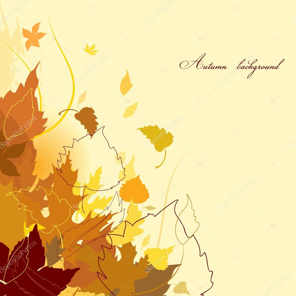 Autumn background with falling leaves corner — Stock Vector #3719516