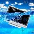 TV in sea - Stock Photo
