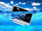 TV in sea — Stock Photo