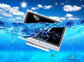 TV in sea — Stock Photo