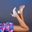 Young woman with shoes and fashion home clothes . — Stock Photo