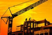 Construction site on sunset — Stock Photo