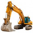 Stock Photo: Yellow Excavator isolated on white