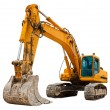 Yellow Excavator isolated on white - Stock Photo