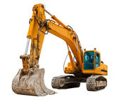 Yellow Excavator isolated on white — Stock Photo