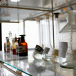 Lab interior of shelves and bottles - Stock Photo