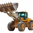 Yellow bulldozer isolated on white - Stock Photo