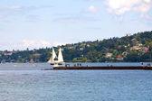 Geneva harbor entrance — Stock Photo