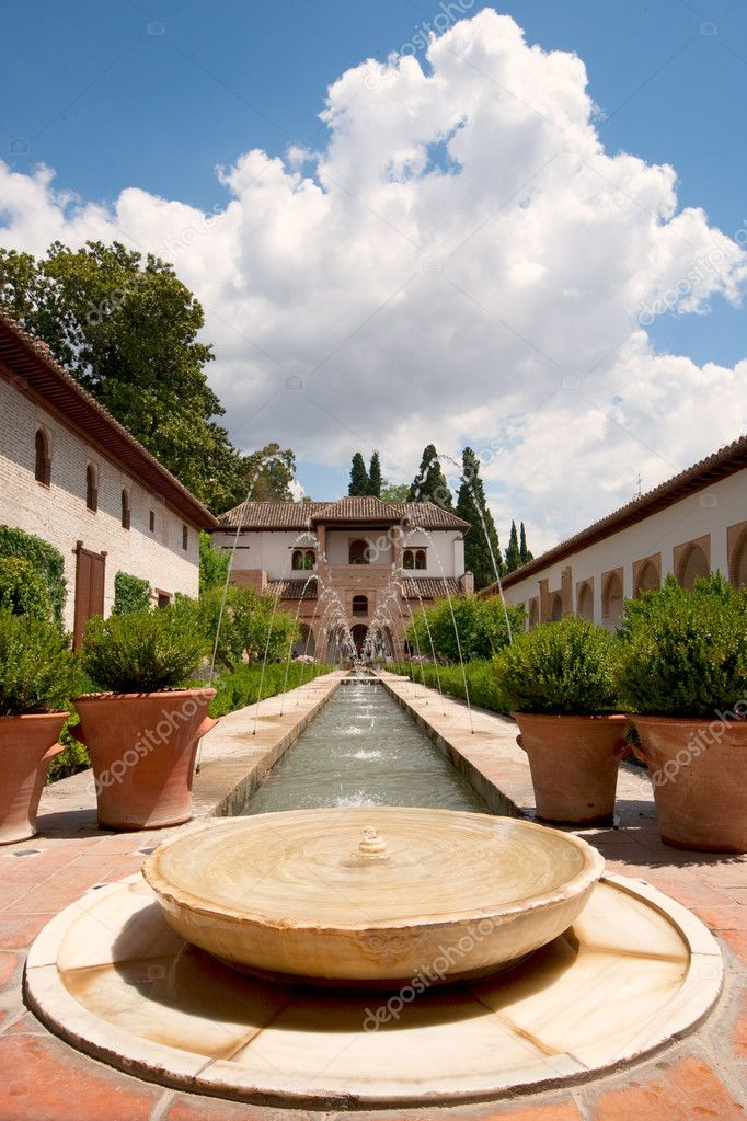 Interior garden of Alhambra fortress in Granada, south of Spain  Stock Photo #3241925