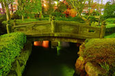 Japanese garden by night — Stock Photo