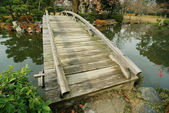 Scenic wooden bridge — Stock Photo