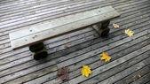 坐在秋天公园长椅 — 图库照片