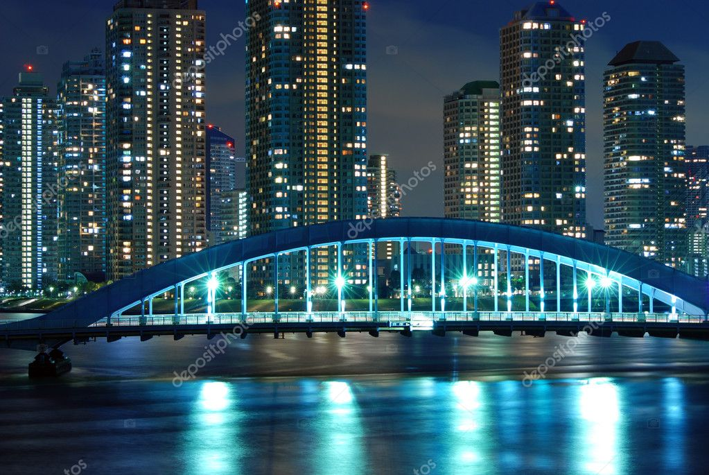 Scenic Eitai bridge over Sumida river at night time, Tokyo Japan — 图库照片 #3193872
