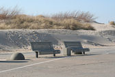 Benches on beach — Stock Photo