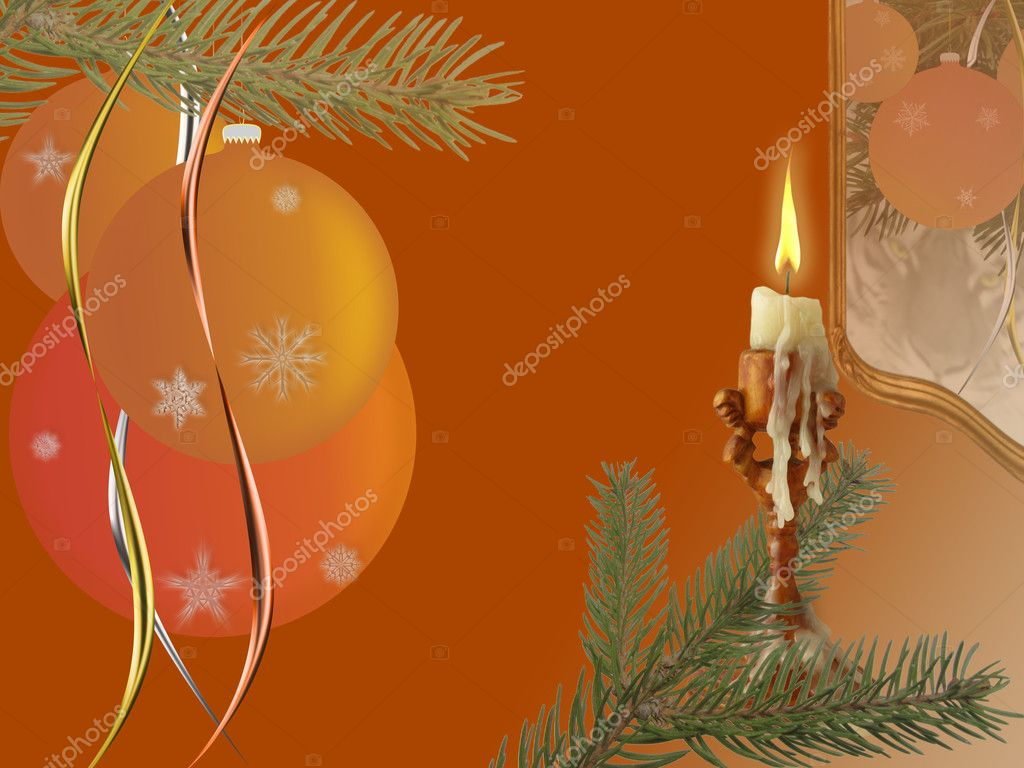Christmas picture. Technics: elements photos and drawings. Idea: Magic of Christmas night and a lighted candle indicates the approach of a tiger. — Stock Photo #2741271