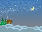 Winter hut night — Stock Photo