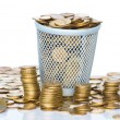 Heap of Soviet Union coins in canister. - Stock Photo