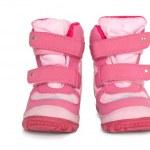 Pink kid's warm boots — Stockfoto