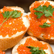 Stock Photo: Sandwiches with red caviar.