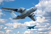 Two planes fly in formation — Stock Photo