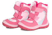 Pink kid's warm boots. — Stock Photo