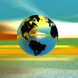 Rainbow water landscape glossy globe — Stock Photo