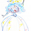 Fairy with wand sketch - Stock Photo