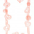 Valentine Red Hearts Frame Border Sketch - Stock Photo