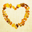 Amber gem stone heart Frame border - Stock Photo