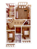 3d apartment floor plan. Top view. — ストック写真