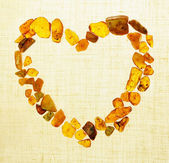 Amber gem stone heart Frame border — 图库照片