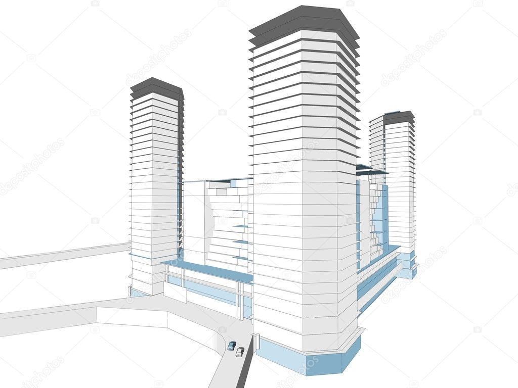 High tower complex building architecture sketch on white background  — Stock Photo #2853126