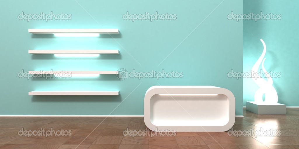 Boutique cashier. Shop, retail store interior background and header. Cashier with empty space for your logo, showcase shelves for products, modern color,  — Stock Photo #2853635