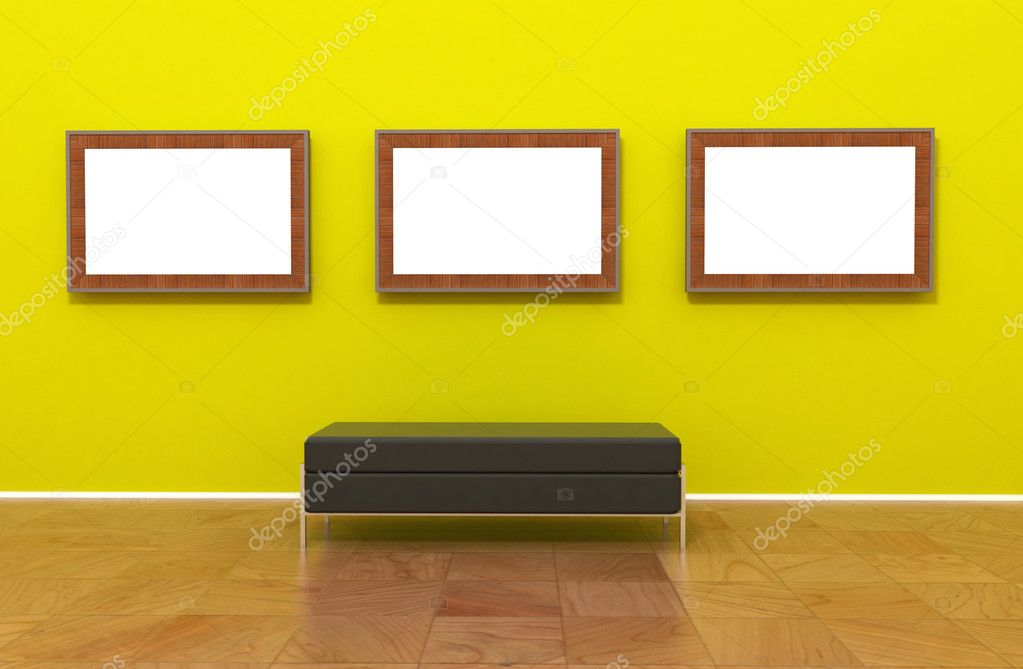Contemporary modern museum gallery interior, empty blank canvas painting or photo on green yellow wall. Chrome Bench.  — Stock Photo #2853950