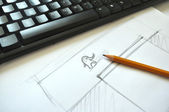 Web site design sketch. Little elephant — Stock Photo