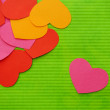 Simple love heart near hearts union composition background — Stock Photo